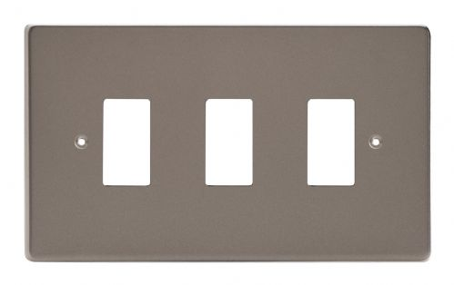 Varilight XDRPG3 PowerGrid Pewter 3 Gang Grid Plate (Twin Plate)